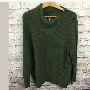 Woman Within 2X Green Sweater 26 28 3X Knit Cowl